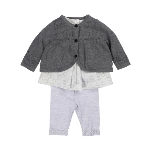 Best Price KANZ Baby Baby-Girls Infant 3 Piece Cardigan Set, Cloudburst, 12 Months