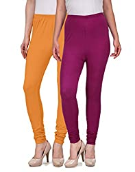 Desi Duos Women's Solid Cotton Leggings With Great Mustard Yellow & Maroon Color