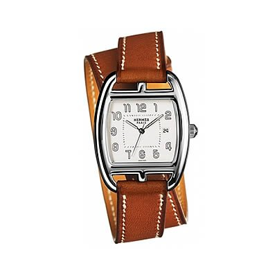 Hermes Cape Cod Tonneau GM Medium Quartz Watch with Double Wrap Strap - 034447WW00