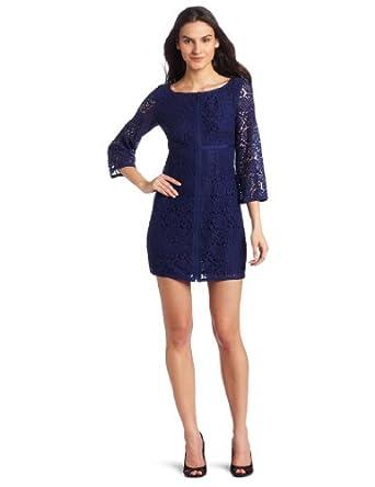 Laundry by Shelli Segal Women's Lace Dress with Zipper, Blue Print, 2