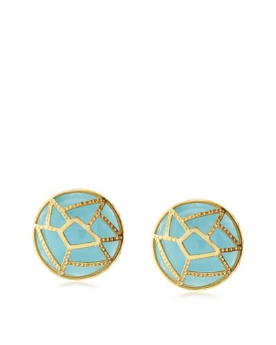 Saachi Green Medallion Cutout Stud Earrings