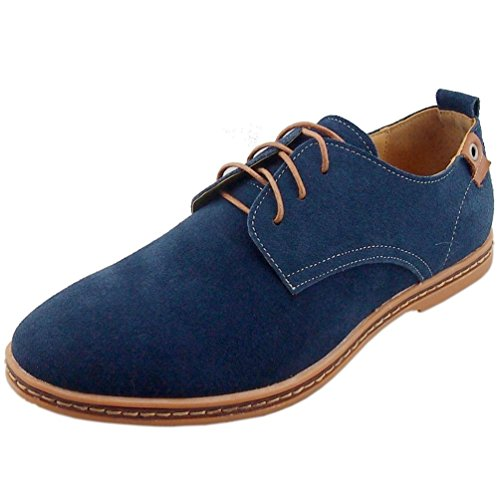 Kiwii Mens Fashion Lace-up Rubber Sole Flats Boards Round Toe Walking Business Oxfords Shoes(9 D(M) US, Blue1) (Insulated Walking Shoes compare prices)