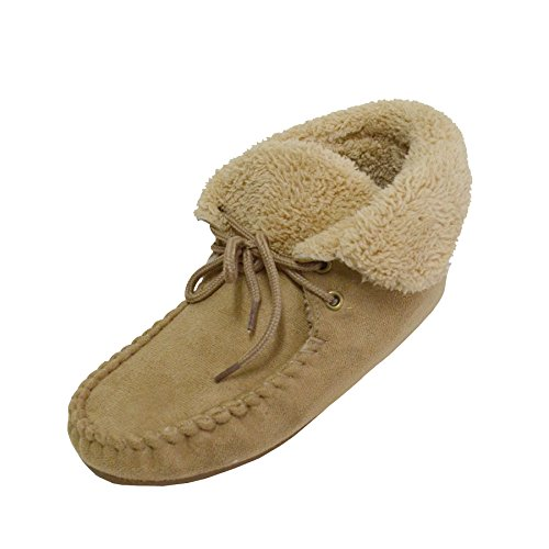 187 Women S Ankle Hi Moccasin Bootie Slippers Faux Suede Fur
