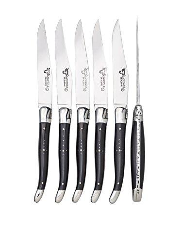 Laguiole en Aubrac Set of 6 Table Knives, Buffalo Horn