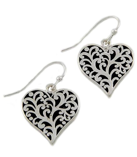 Antique Silver Tone Valentine's Day Filigree Heart Dangles Fish Hook Earrings