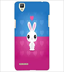 PrintDhaba Bunny D-5864 Back Case Cover for OPPO F1 (Multi-Coloured)