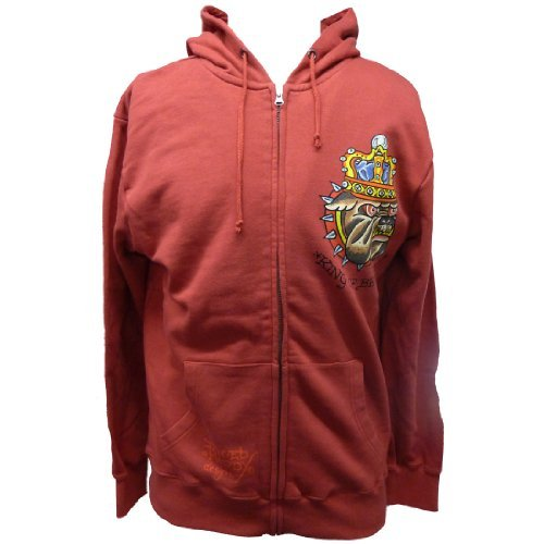 Ed Hardy Mens Basic King Of Beasts Zip Up Hoodie - Red - Large