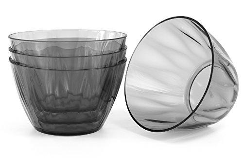 Kreate Acrylic Bowls - Set of 4 - Reusable Break-Resistant Plastic - 6
