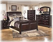 Hot Sale Ashley Ridgley Contemporary Queen Sleigh Bed in Dark Brown Finish