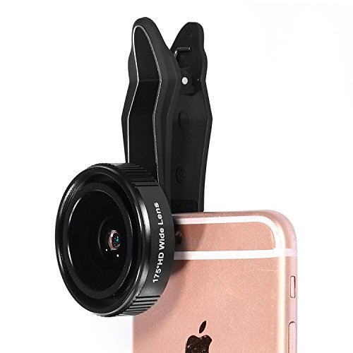 iPhone-Camera-Lens-Fuleadture-175-Degree-Wide-Angle-Lens-and-3X-HD-Telephoto-Clip-On-Cell-Phone-Camera-Lens-Kit-for-iPhone-6-6s-with-Universal-Clip-for-All-Smartphones-Black