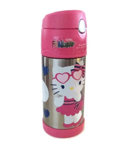 Thermos Funtainer Bottle, Hello Kitty With Heart And Circles, 12 Oz/355 Ml front-885869