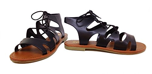 Soda Mellie sandal gladiator MVE Shoes black pu 7.5 (Gladiator Sandals Soda compare prices)