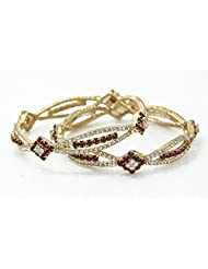 BDF Gold Plated CZ Stone Bangles. A Pair Of 2 With White And Red Stones. Available In 2.4 Size. - B00URAPGTI