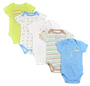 Calvin Klein Infant Boys Blue & Lime Green 5pc Bodysuit Set