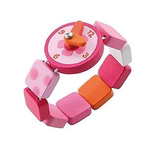 Sevi : reloj juguete de madera rosa / fucsia de Sevi