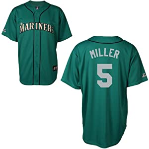 Brad Miller Seattle Mariners Alternate Green Replica Jersey by Majestic by Majestic