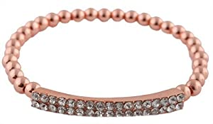 2 Pieces of Iced Out Metallic Rose Gold Bar Style Beaded Stretch Bracelet
