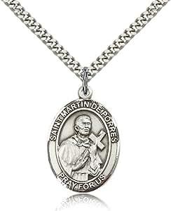 Sterling Silver Men's Patron Saint Medal of ST. MARTIN de PORRES