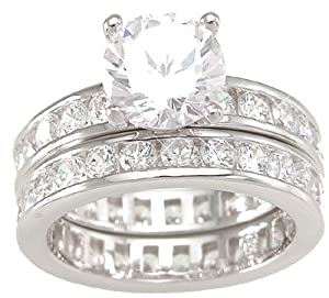 Solitaire Cubic Zirconia CZ Wedding and Engagement Ring Set in Sterling Silver