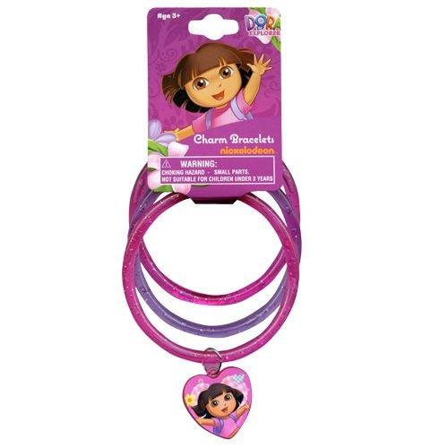 WeGlow International Dora the Explorer Glitter Bangles Set with Plastic Charm (9-Piece) - 1