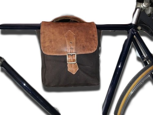 Borsa doppia per bici stile bisaccia in tessuto e vera pelle, Mod: Twin 08/15 LARGO 20 CM X ALTO 24 CM