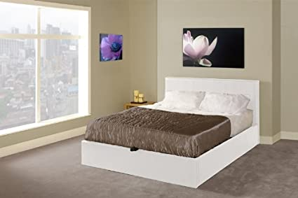 Emporia Beds White Madrid Faux Leather Ottoman Storage Kingsize Bed