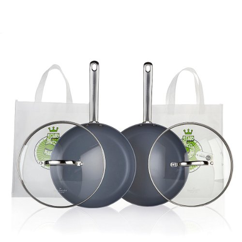 """(2) Greenpan By Todd English 10"""" Hard Anodized Frypan With Glass Lid & Totes"""