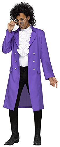 Adult Men's Prince Costume Set - Purple Pain Jacket, Jabot, Glasses and Wig.