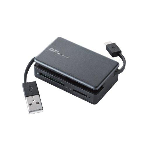 ELECOM メモリカードリーダー/ライター PC・スマホ・タブレット用 microBケーブル+USBAケーブル SD+microSD+CF ブラック MRS-MB07BK