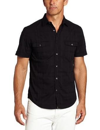 Perry Ellis Men's Slim Fit Short Sleeve Textured Woven, Black, Small