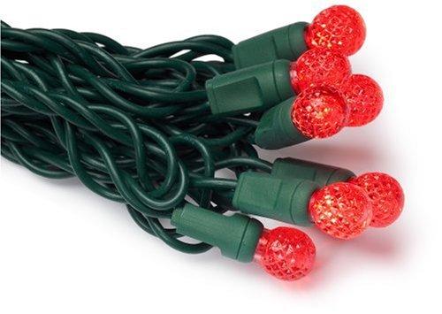 Gki/Bethlehem Lighting 35-Light Faceted Berry Led Light Set, Red Bulbs, Green Wire