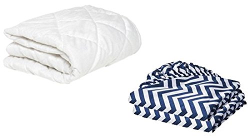 BKB Cradle Mattress Protector and 2 Chevron Sheets Combo, Navy, 15 x 33