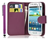 New Leather Wallet Flip Case Cover Pouch for Samsung Galaxy S4 Mini GT-i9190 GT-i9192 GT-i9195 Mini WITH FREE SCREEN GUARD + STYLUS PEN (Purple)