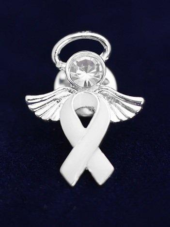 White Ribbon Pin- Angel Tac (36 Pins)