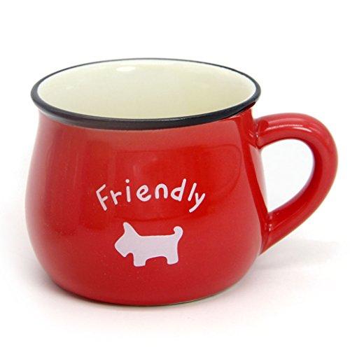 Momugs 6 oz Coffee Cup, Personalized Cute Cartoon Animal Pattern Small Milk Mug, Red