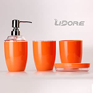 Lidore Set Of 4 Ensemble Bath Accessories Set In Orange Color