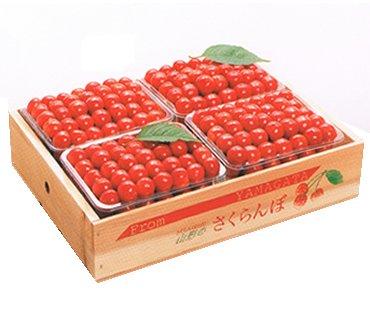特選山形産さくらんぼ「佐藤錦」 手並べ 2kg(500g×4パック) 贈答用木箱詰め