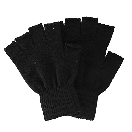 Simplicity Men/Women Half Gloves Solid Color Knitted Winter Warm Gloves, Black