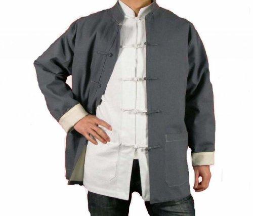 100-Baumwolle-Grau-Kung-Fu-Kampfkunst-Tai-Chi-Jackett-Mantel-XS-XL-oder-Von-Ma223schneider