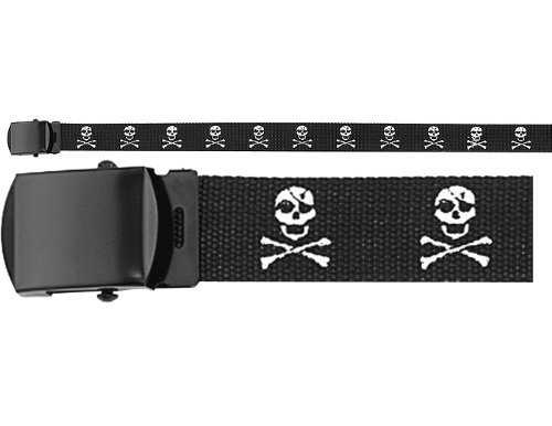 Army Camouflage Solid Color Military Web Belt (Black Jolly Roger - Black Buckle, 54