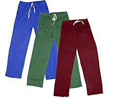 IndiWeaves Women's Stretchable Premium Cotton Lower/Track Pant(Pack of 3)_Blue::Green::Maroon_Free Size