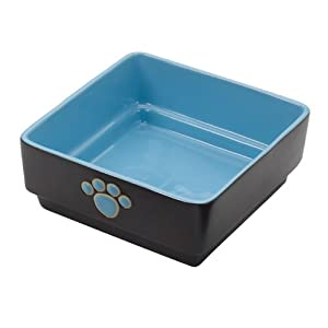 Ethical Pet Products (Spot) DSO6933 Stoneware 4-Square Dog Dish, 7-Inch, Blue