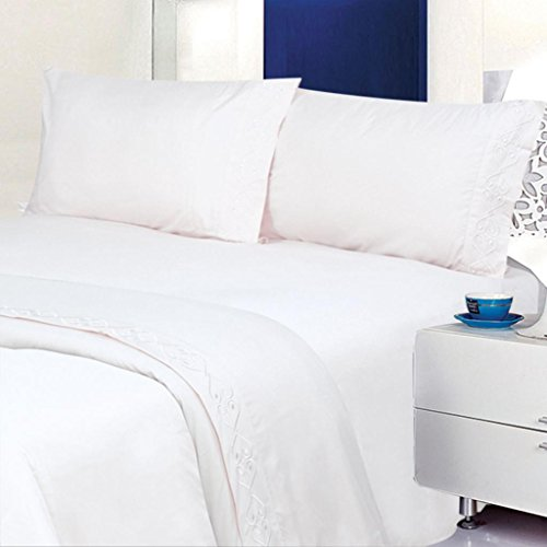 ELEGANTE PREMIERE 1800 SERIES, Embroidered 4pc Bed Sheet Set - King Size, White (King Size White Sheets compare prices)