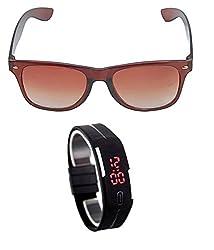 MagJons Brown Wayfarer Sunglasses With Digital Slim Watch