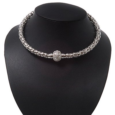 Rhodium Plated Mesh Wire Magnetic Choker Necklace With Crystal Ball - 35cm Length