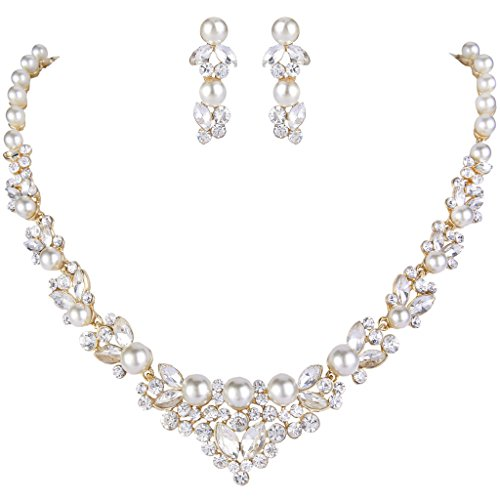 ever-faithr-kunstlich-perl-kristall-elegant-halskette-ohrring-schmuck-set-ivory-farbe-gold-ton-n0047