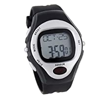 BestOfferBuy Unisex Digital Silicone Sports Watch Heart Rate Pulse Sensor Silver