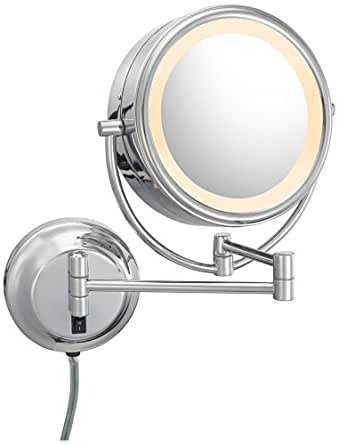 chrome 8 wide led lighted wall mount vanity mirror. Black Bedroom Furniture Sets. Home Design Ideas
