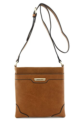 Womens-Medium-Size-Solid-Modern-Classic-Crossbody-Bag-with-Gold-Plate