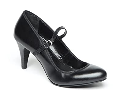 Black faux leather 'Gurleen' mid block heel wide and comfort fit Mary Jane court shoes.